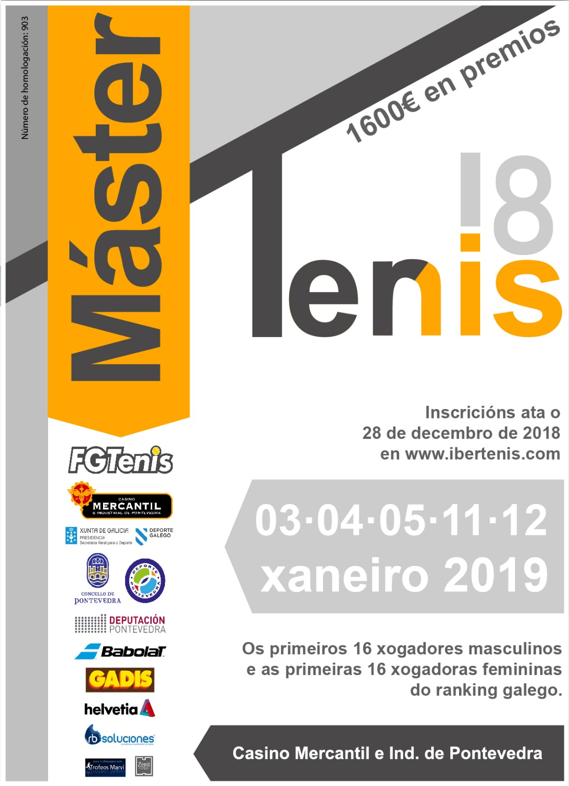 cartel MÁSTER GALLEGO ABSOLUTO DE TENIS 2018